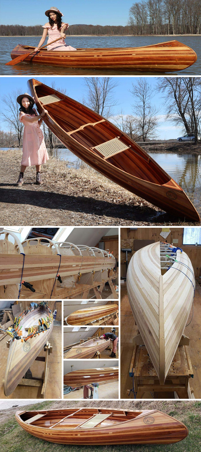 Viaje inaugural de mi primera canoa de listones de cedro sin kit, sin planos, sin grapas