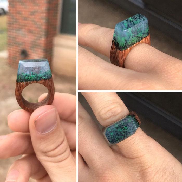 """Mi novia quería un anillo tipo """"My secret wood"""", así que 10 anillos fallidos después, hice uno tal y como lo imaginaba"""