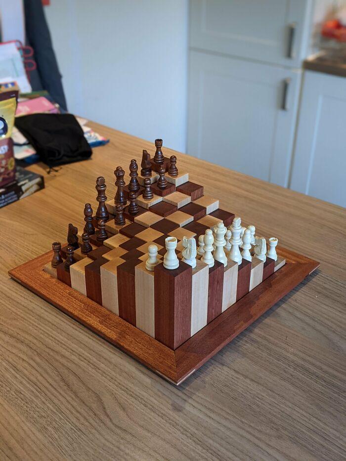 Tablero de ajedrez con un toque extra que hice para mi hermana y su familia