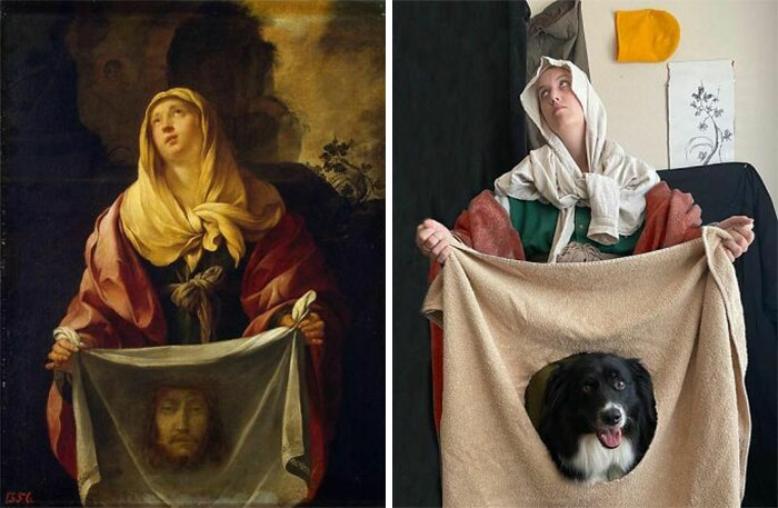 Artist And Her Dog Team Up To Recreate Famous Paintings And Have Some Fun During The Pandemic (50 Pics)