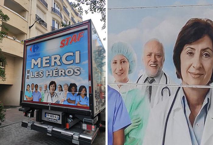 """""""Hide The Pain Harold"""" Se convierte en uno de los rostros de la campaña francesa de agradecimiento a los héroes que luchan contra el coronavirus"""