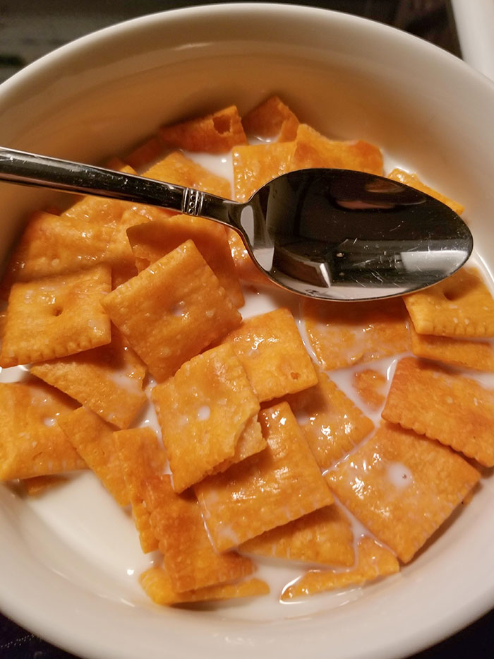 Prepared Cinnamon Toast Crunch In The Dark. It Was Cheez-Its