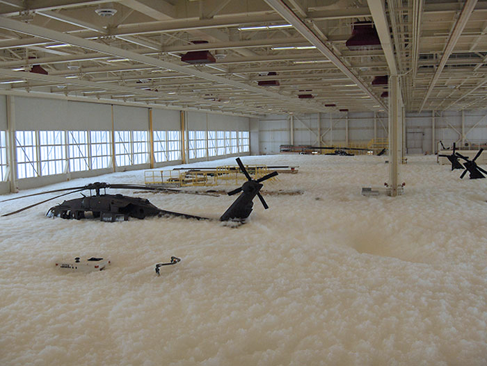 Someone Accidentally Set Off The Fire Suppression System In A Military Hanger