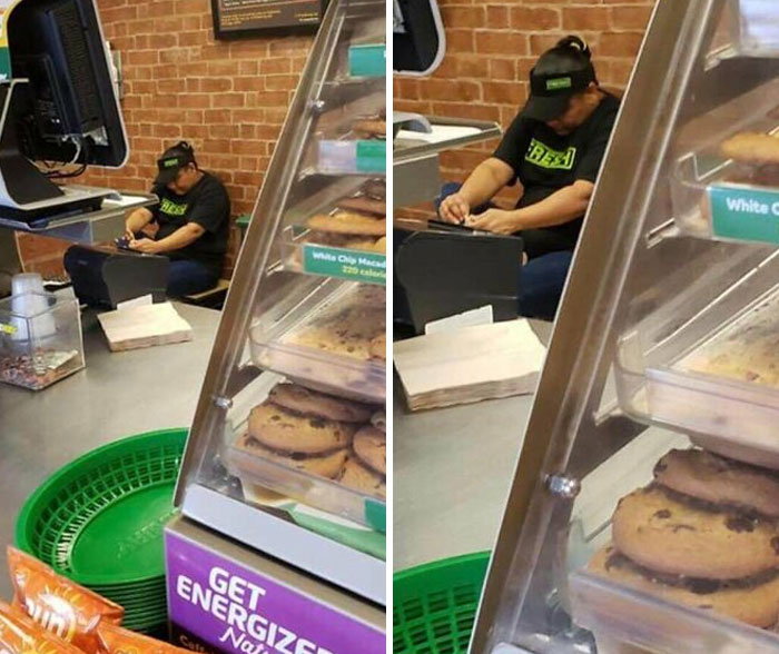 Subway Employee Picking Her Feet Behind The Counter. How Fresh