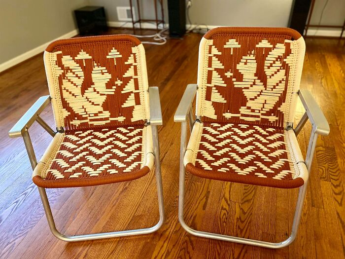 Got These Awesome Macramé Squirrel Lawn Chairs On Facebook Marketplace. I Couldn't Resist!