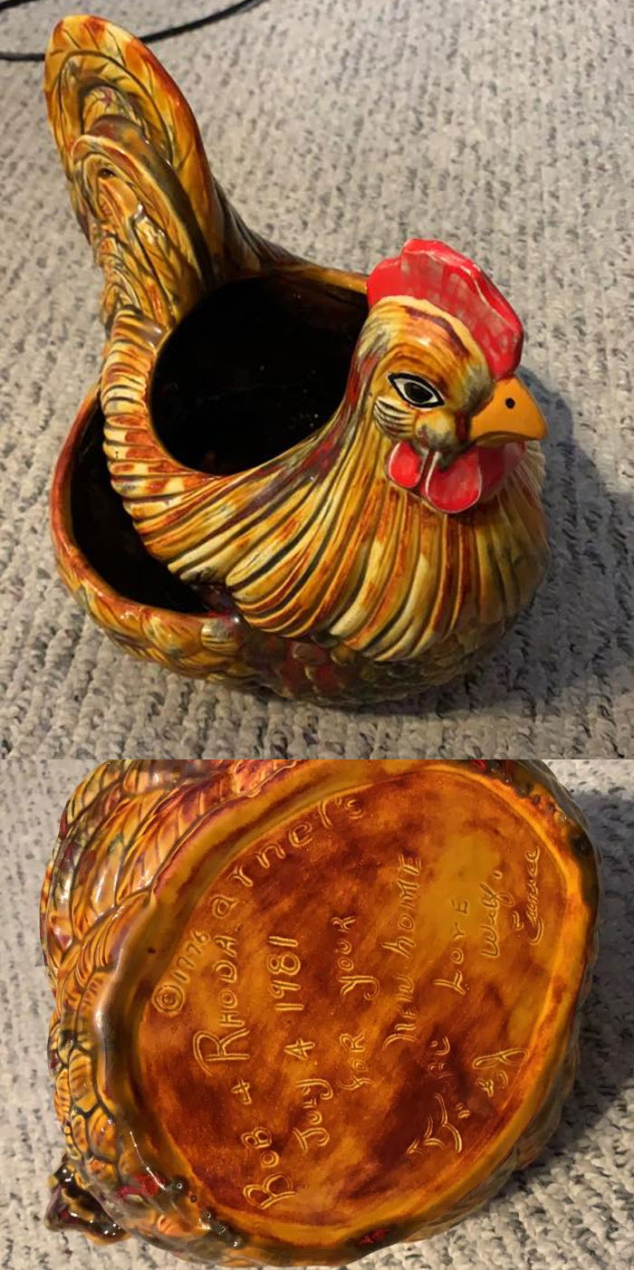 When My Wife And I Moved Into A House Our Friend Gifted Us This Ceramic Chicken Planter That She Found At A Thrift Store