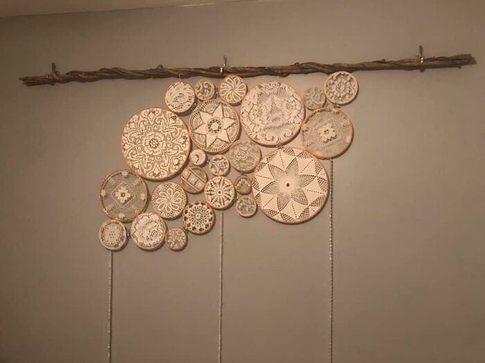 Wall Art I Created Out Of My Husband's Grandma's Doilies, Thrifted Doilies, Thrifted Lace Table Cloths, And Thrifted Embroidery Hoops