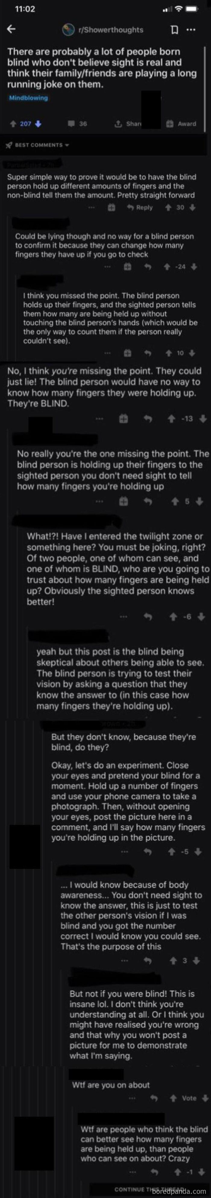 Confidently Argued Blind People Couldn't Feel Their Own Fingers
