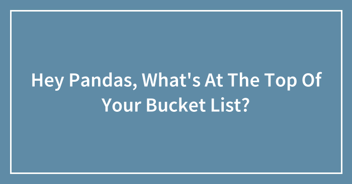 Hey Pandas, What's At The Top Of Your Bucket List? (Closed)
