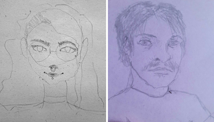 Hey Pandas, Draw A Self-Portrait With Your Non-Dominant Hand