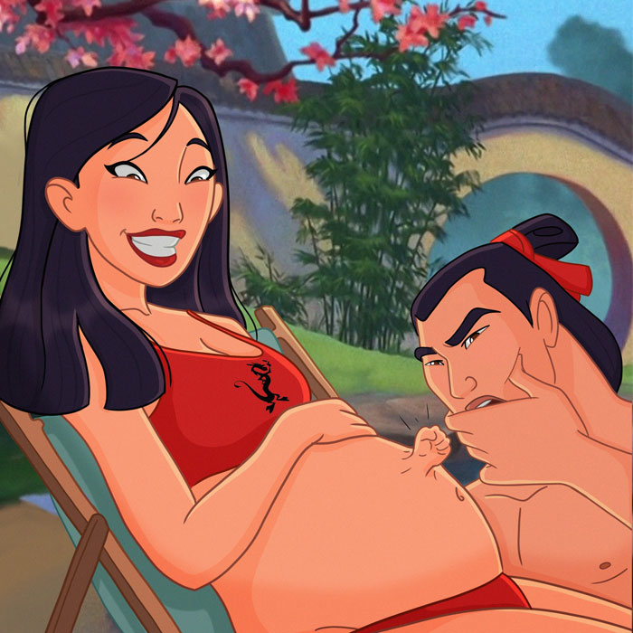 Artist Shares Her Journey Of Expecting A Baby By Drawing Disney Princesses Going Through Pregnancy (9 Pics)