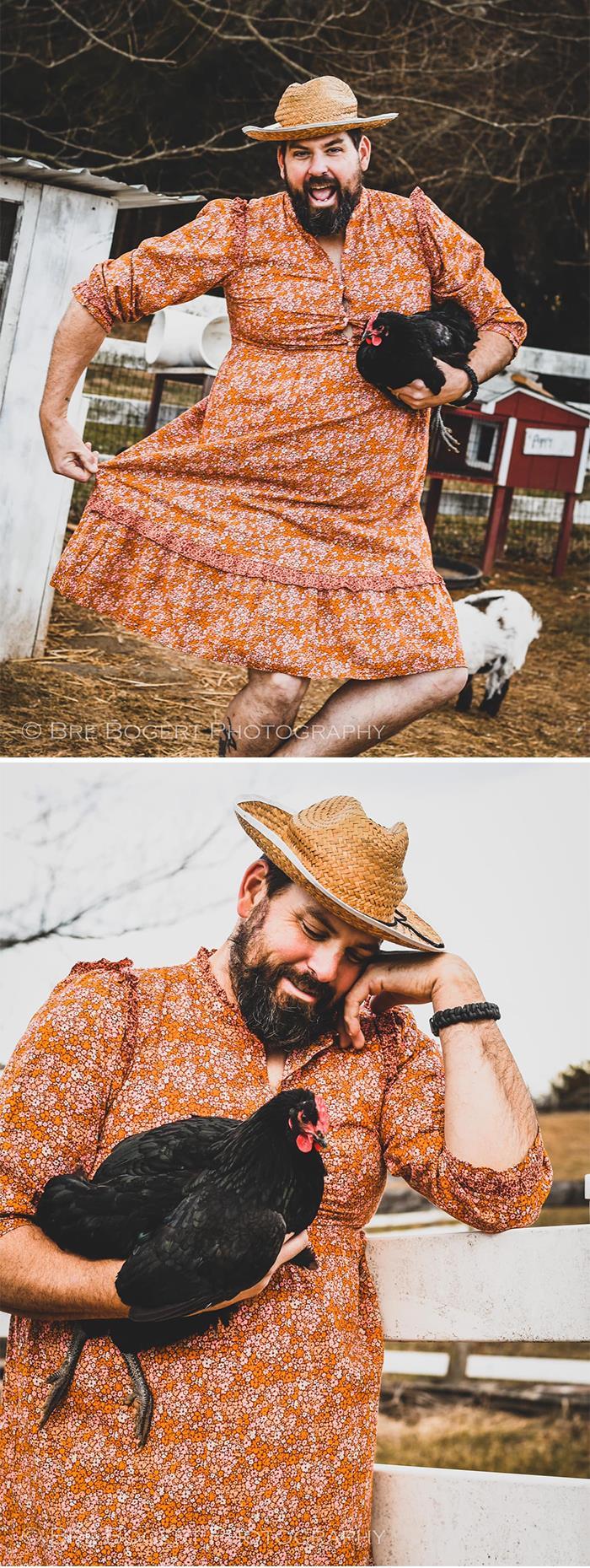 """De mi marido Matt, """"Hemos estado viendo estas divertidas fotos del reto del vestido de Target, y ella me echó esa mirada"""""""