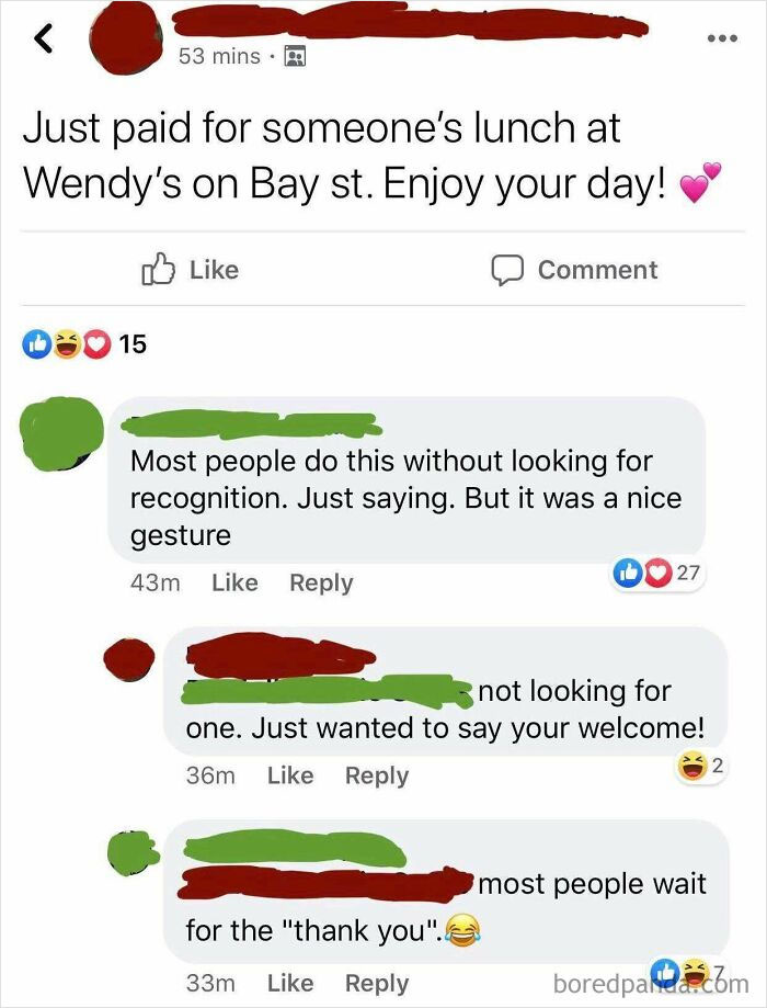 Woman Got Called Out In A Facebook Group For Humblebragging About Paying For Someone's Burger And Fries