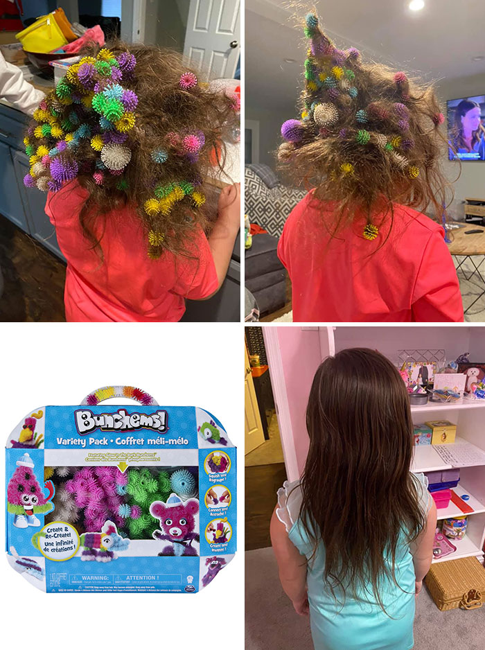 """It Took Her Mom 20 Hours To Get That Out After Her Brother Poured A Container Of """"Bunchems"""" In Her Hair"""