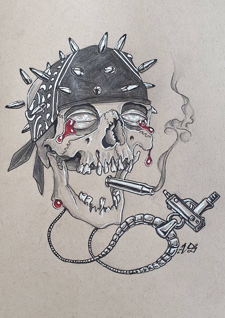 Gangsta (Wearing A Necklace With An Uzi, Smoking A Bullet Shell With A Bandana And A Bullet Tip Crown)