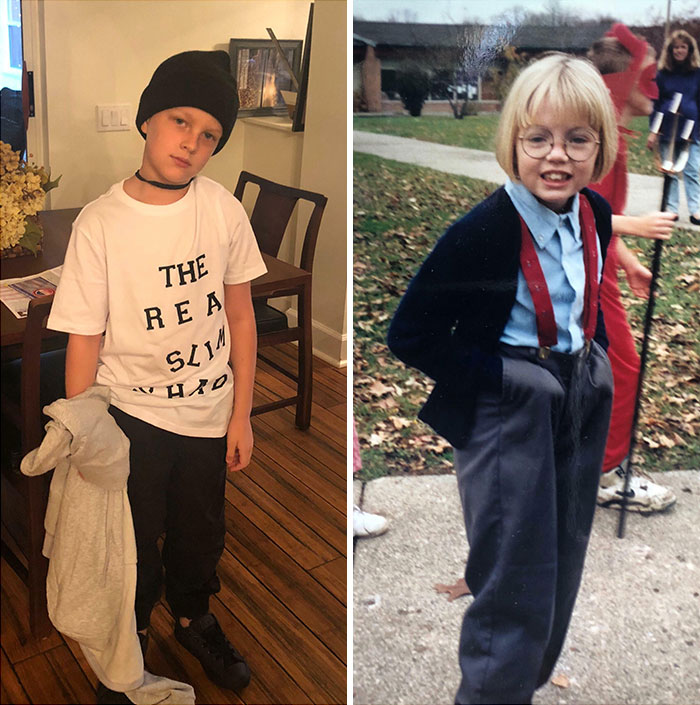 On The Left Is My Son Callum At 8 Years Old On Halloween. He Is Dressing As Eminem. On The Right Is Me At 8 Years Old. I Dressed As Steve Urkel. I Stand By My Choice