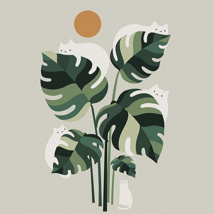 My 14 Minimal Illustrations With Cats And Monstera Plants