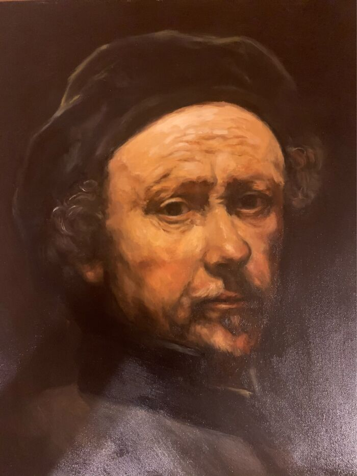 I Made This Study Of A Rembrandt Self-Portrait In My Art Class And I'm Really Proud Of It! (16)