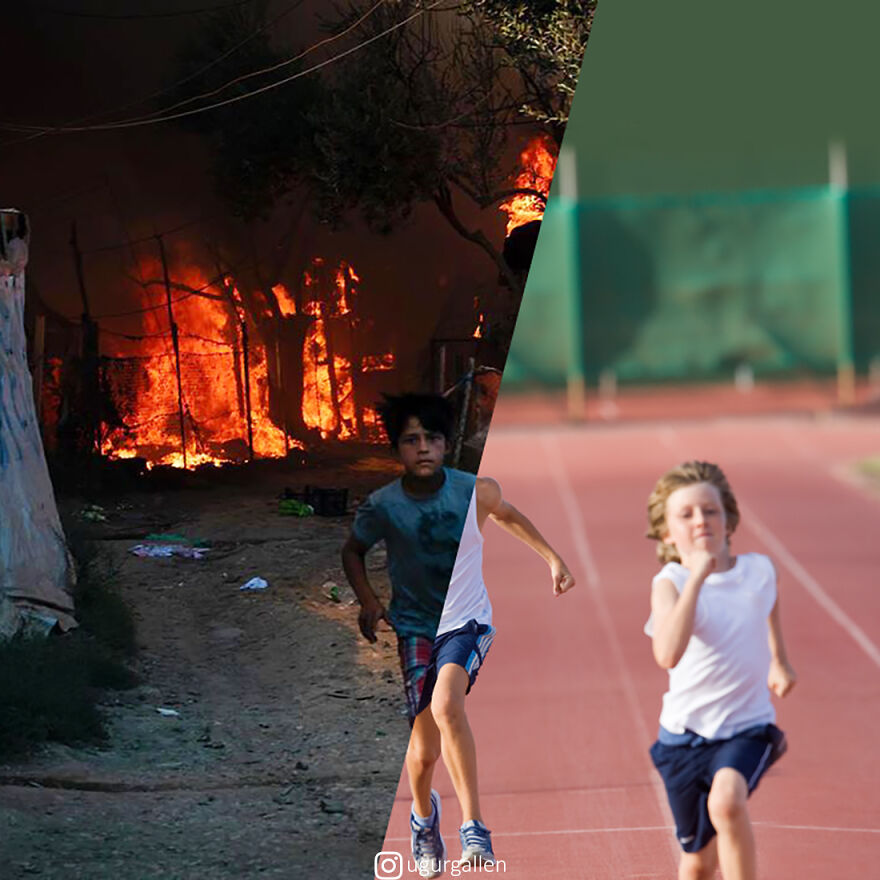 I Show The Contrast Between The Two Worlds That We Currently Live In By Combining Photos