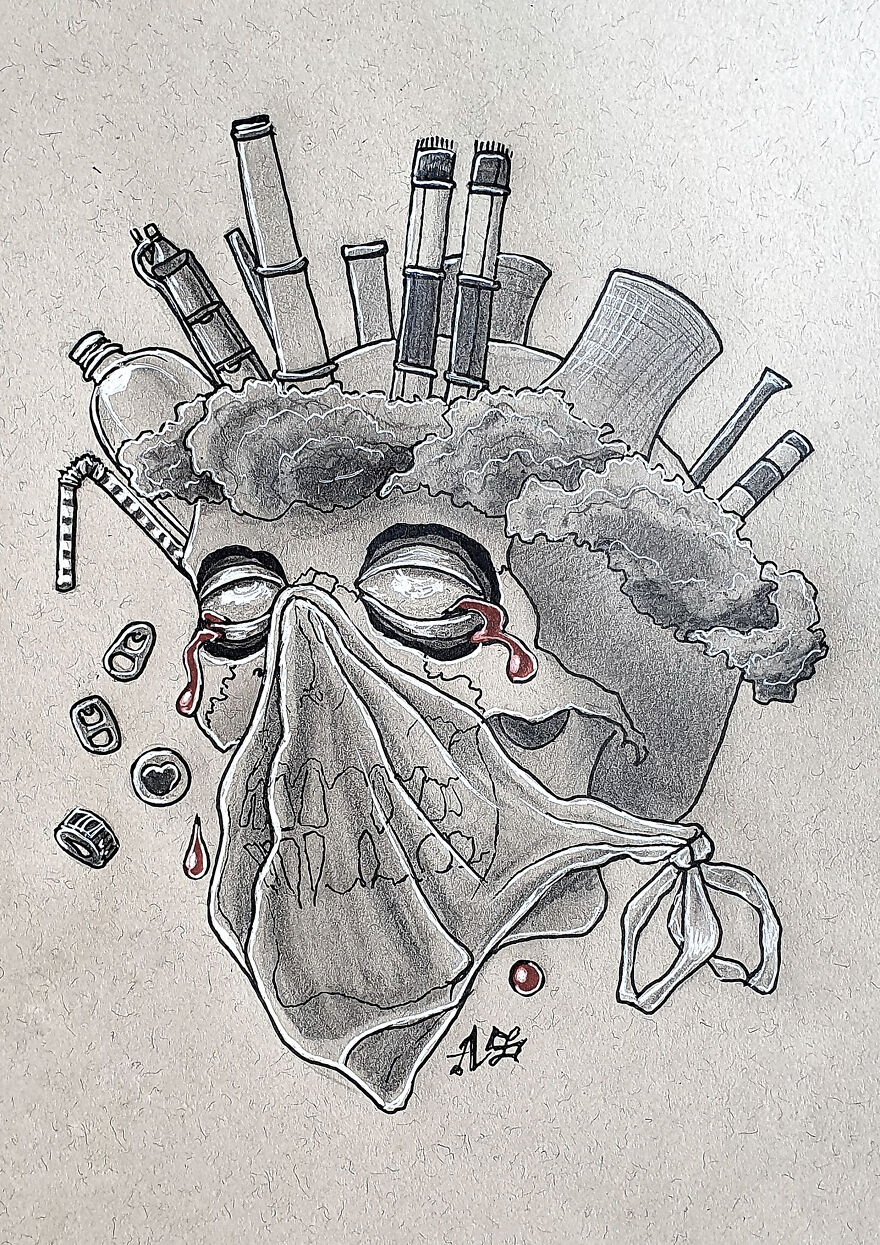 Pollution (With A Crown Of Smog Chocked With A Plastic Bag)