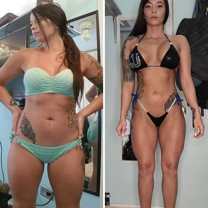 ¿Me creerías si te dijera que tengo el mismo peso en ambas fotos? La composición corporal lo es todo