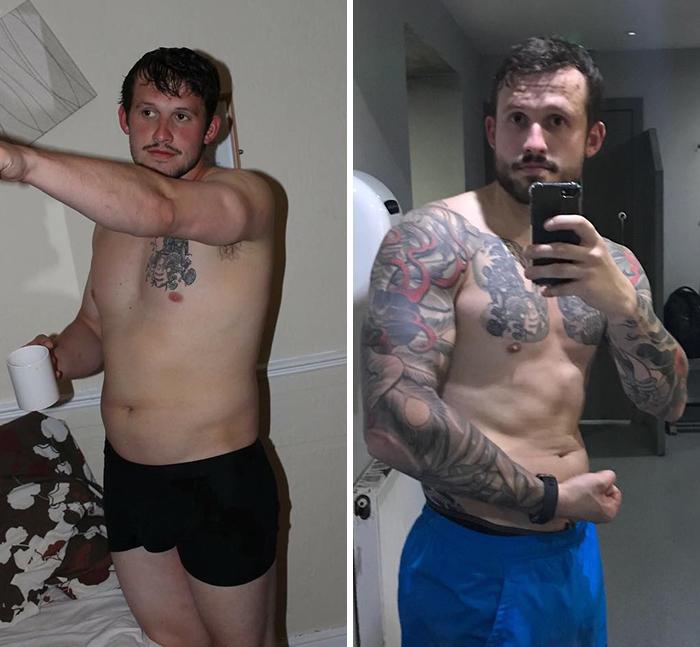 Cinco años al menos entre estas dos fotos y probablemente tengo el mismo peso en cada una
