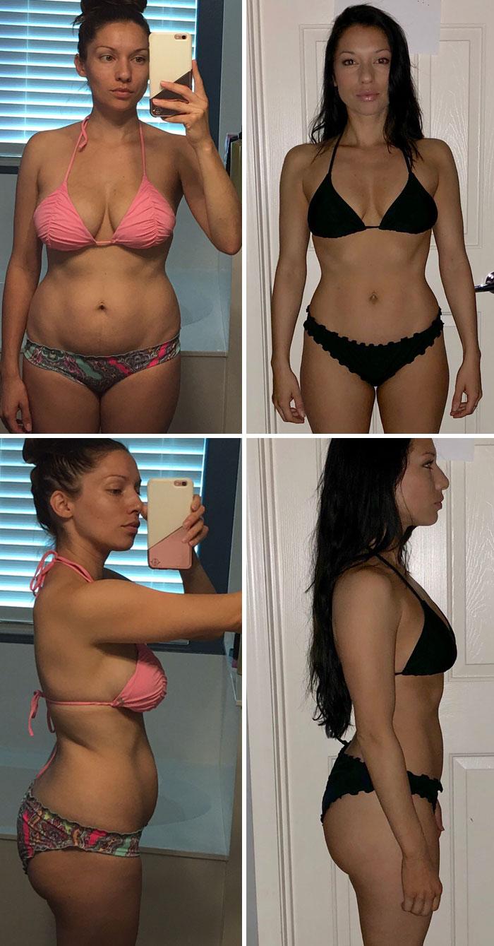 En todas estas fotos tengo el mismo peso (52,6 kilos). La única diferencia en las fotos de la derecha es que estaba comiendo limpio y levantando pesas.