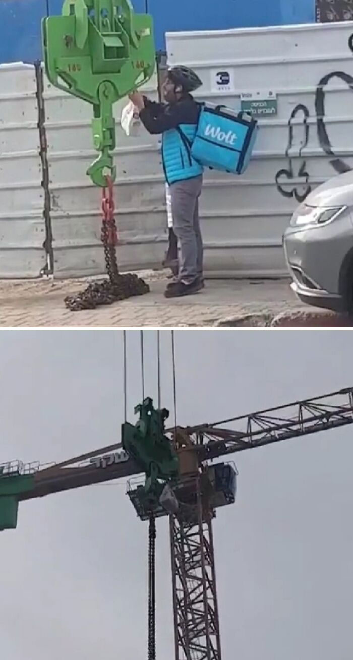 When You Got A Lunch Break On A Crane But You're Too Lazy To Go Down