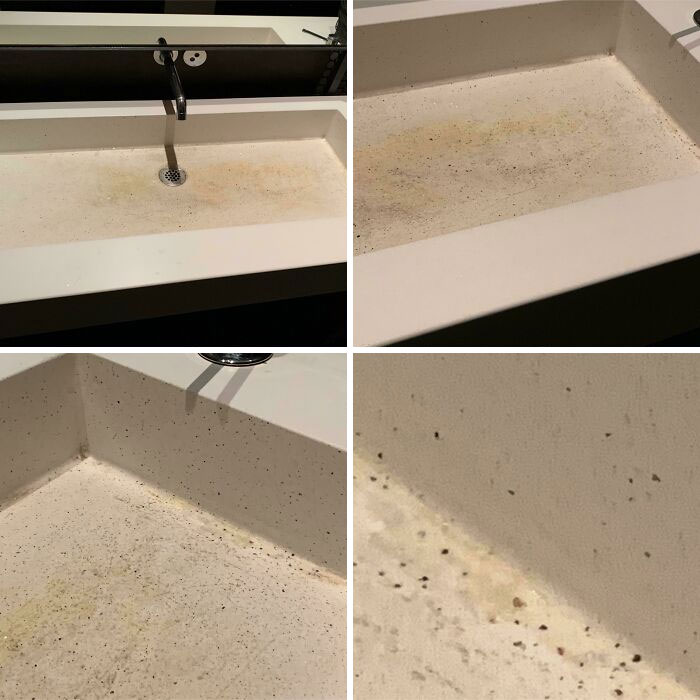 This Is A Sink At A High-Quality, Fancy French Restaurant In San Fransisco. No, That Is Not Dirt, But The *intentional* Material Of The Inside Of The Sink. Also, Those Are Not Stains (Unless The Material Soaks Up Stains, Either Way, Bad Sink Design)