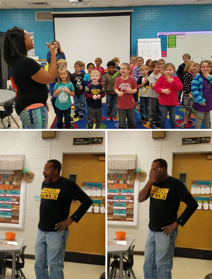 Our Kindergarten Classes Learned How To Sign Happy Birthday For Mr. James' Birthday Today. He Was So Surprised