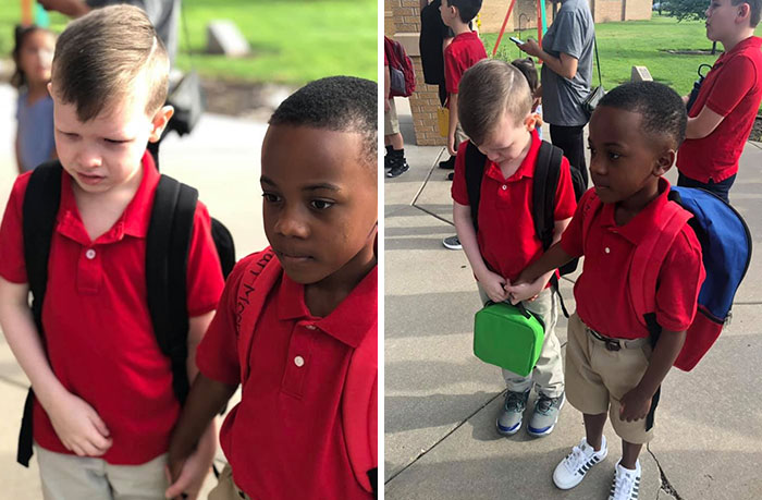 I'm So Proud Of My Son, He Seen A Kid Balled Up Into A Corner Crying, So He Went To Console Him, Grabbed His Hand And Walked Him Inside Of The School