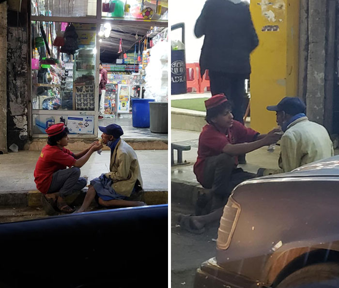 14-Year-Old Ridan Al-Mashouly From Sana'a, Yemen Regularly Feeds And Provides Food For A Homeless Special Needs Elderly Man From His Paycheck