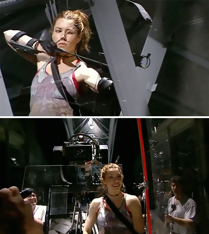 "Til On The Set Of Blade: Trinity, Jessica Biel Was Supposed To Fire An Arrow Directly At The Camera, So The Camera Was Surrounded By Plexiglass Except For A 2"" X 2"" Square In Front Of The Camera Lens. Biel Managed To Shoot The Arrow Through The Hole And Destroy The $300,000 Camera."