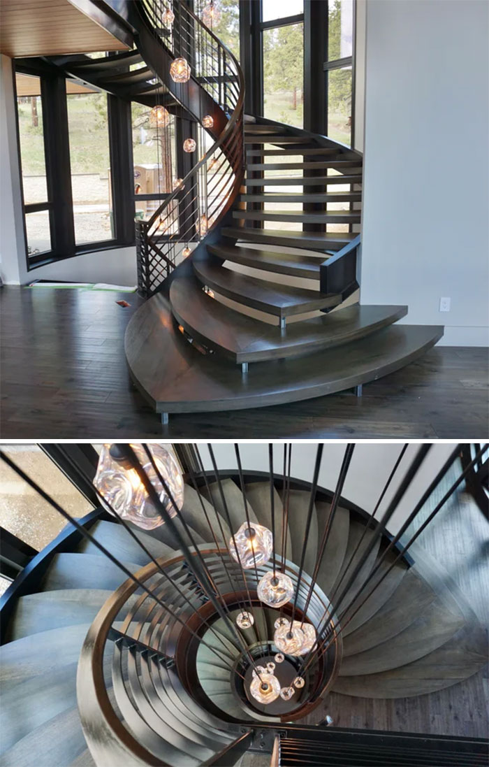 """Imagine The Look On My Face When My Boss Said """"You'll Be Lead Carpenter On This Stair Job"""" When I Had Never Made A Single Tread Before. Lots Of Work By Lots Of People, I Can't Take All The Credit, But Damn If I Didn't Pour My Blood And Sweat Into This Staircase"""