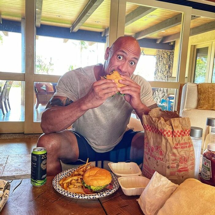 The Rock Doesn't Shy Away From Hamburgers