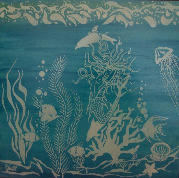 Mermaid And Dolphins Sandblasted On Italian Tile