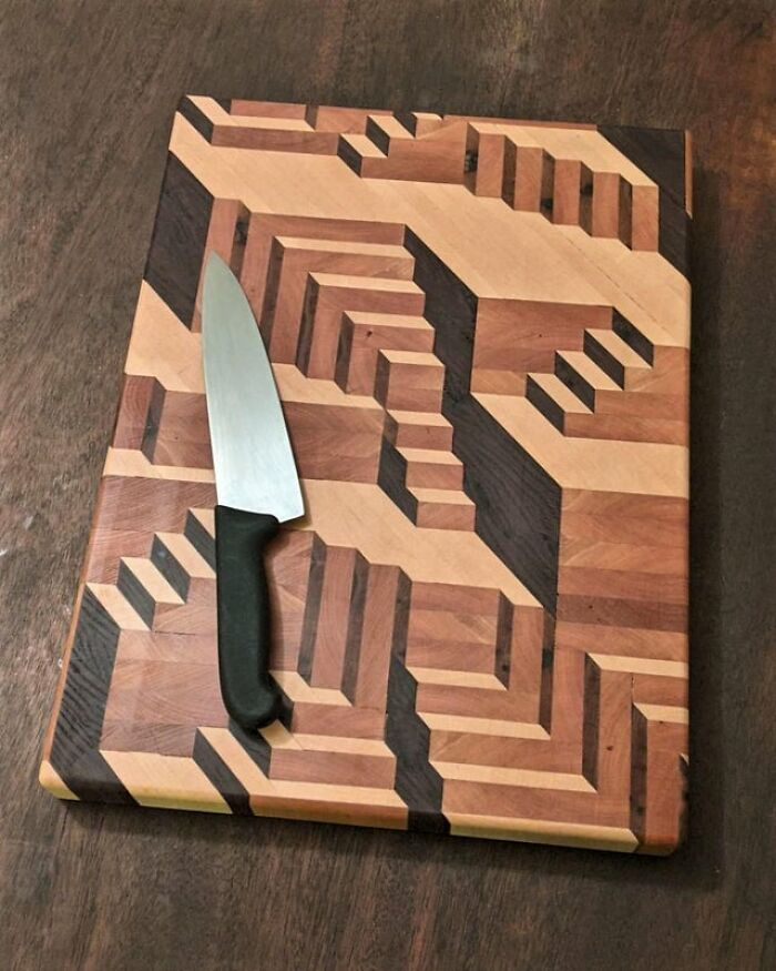 """Finished My First Cutting Board! 14.5"""" By 20"""" By 1.6"""". Inspired By The Works Of Mc Escher"""