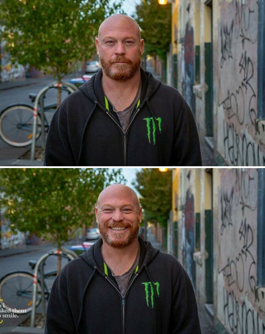He Was Walking Down The Street Lined With Cafes And Bars, As The Sun Set Over Colorful Fitzroy, In Melbourne, Australia... So I Asked Him To Smile
