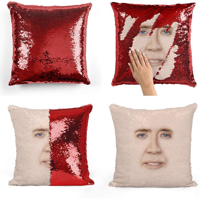 This Nicolas Cage Sequin Pillow