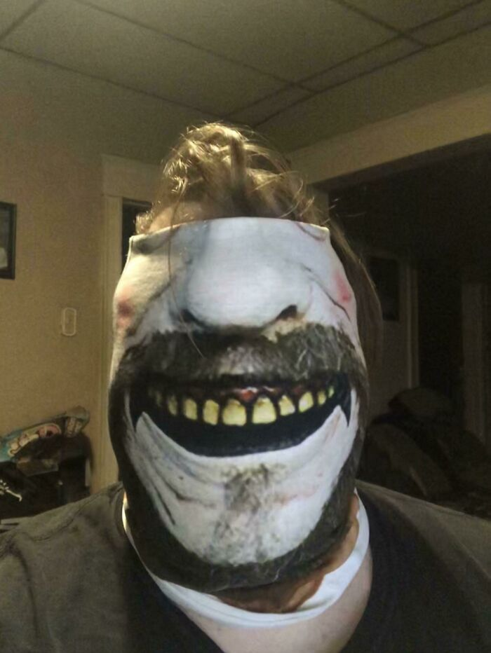 So My Boss Found Out That I'm A Fan Of The House Of 1000 Corpses Movies And Bought Me A Captain Spaulding Mask. This Showed Up