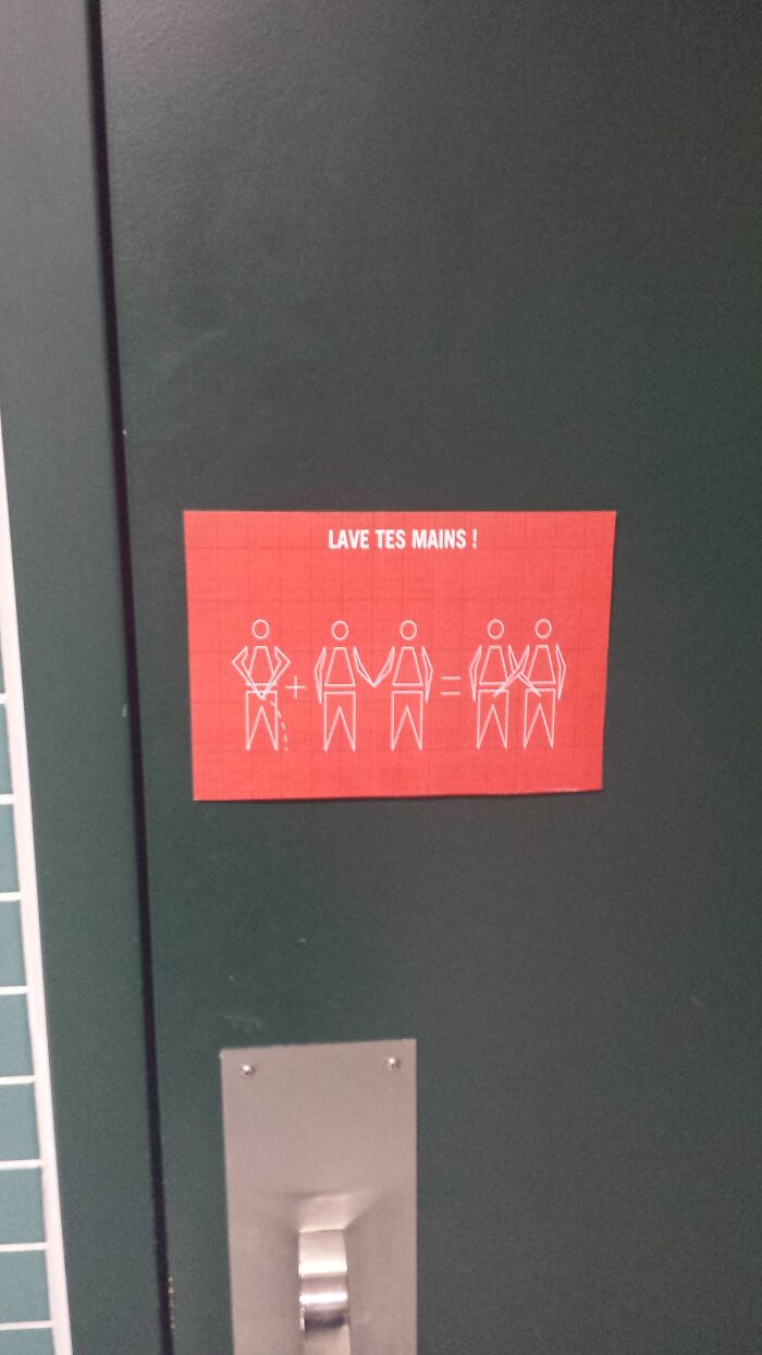 """My School's Bathroom Has A New """"Wash Your Hands"""" Sign"""