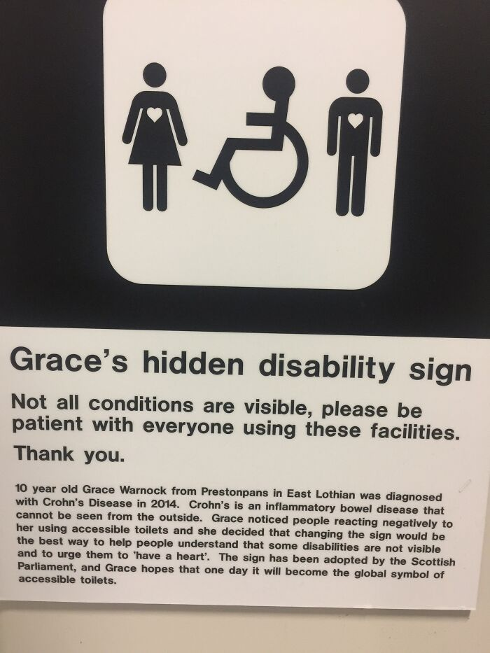 This Disabled Bathroom Has A Sign To Say It's Ok For Anyone Of Any Disability To Use It