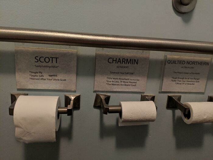 This Bathroom Has Three Different Types Of Toilet Paper To Try Out