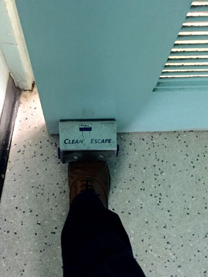 The Bathroom Door At My College Has A Foot Door Opener