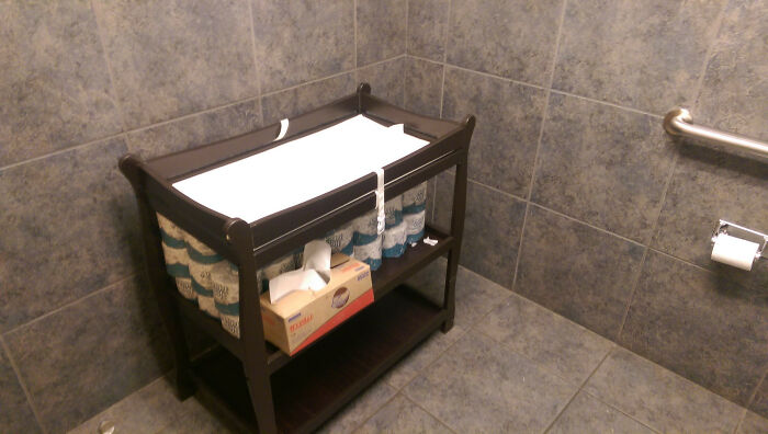 Auto Glass Repair Shop Men's Bathroom Has A Full Blown Standalone Changing Table