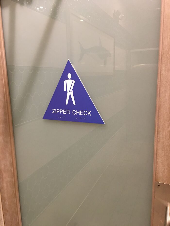 The Backside Of This Men's Restroom Door Reminds You To Check Yourself Before Exiting
