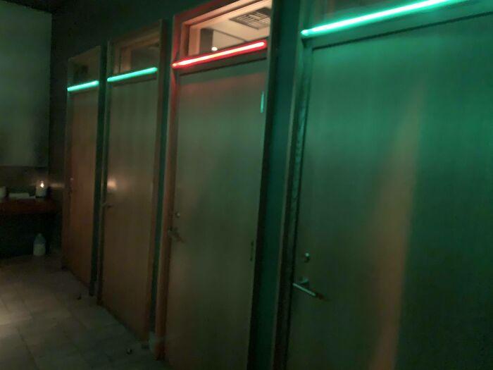 This Restaurant's Restrooms Change Lights When Occupied