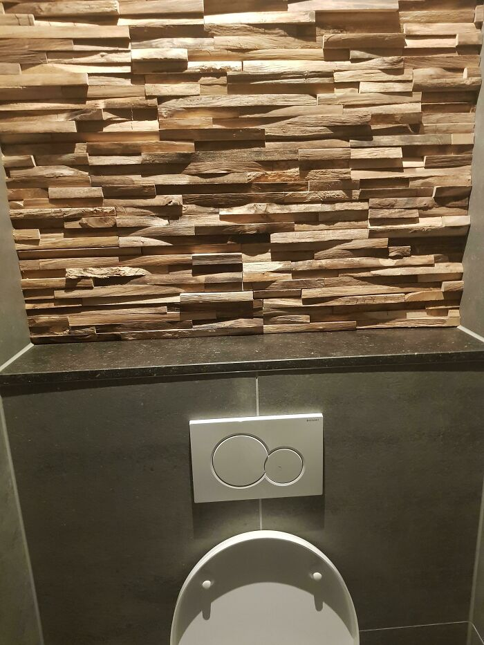 The Toilet At My Work Has A Wall Of Strong Scented Wood To Replace An Air Refresher. It Works Surprisingly Well