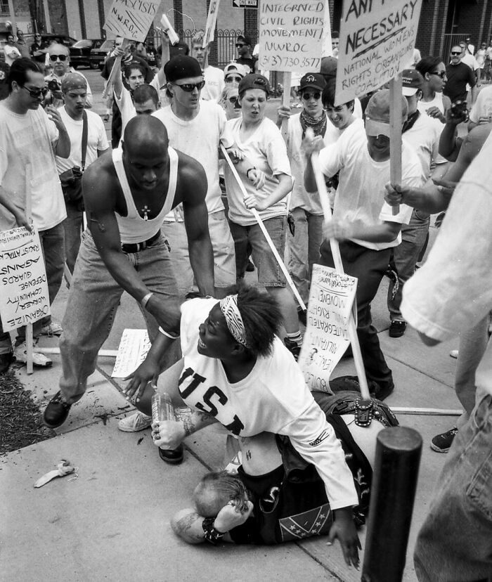 Keshia Thomas Protects An Alleged Kkk Supporter From A Mob In Ann Arbor, Mi, 1996