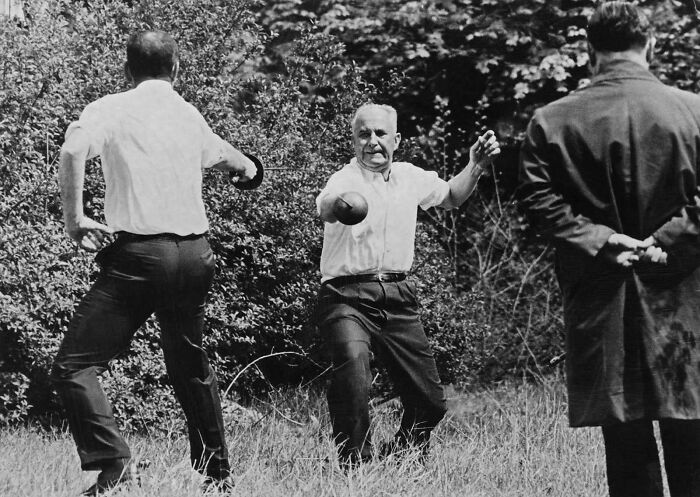 Last Sword Duel In History In France, 1967 Between The Mayor Of Marseille And The Socialist Party Candidate For Presidency